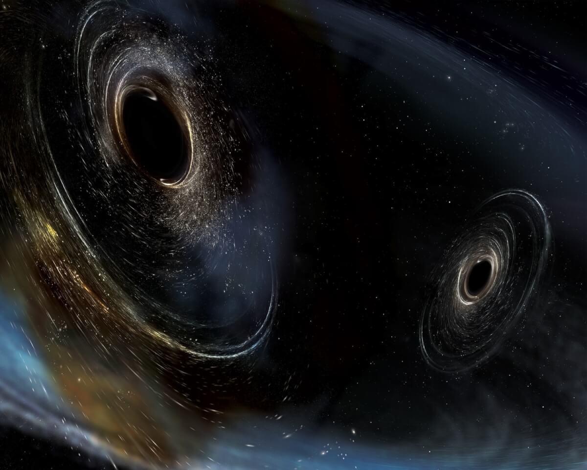 Artist impression of 2 orbiting black holes