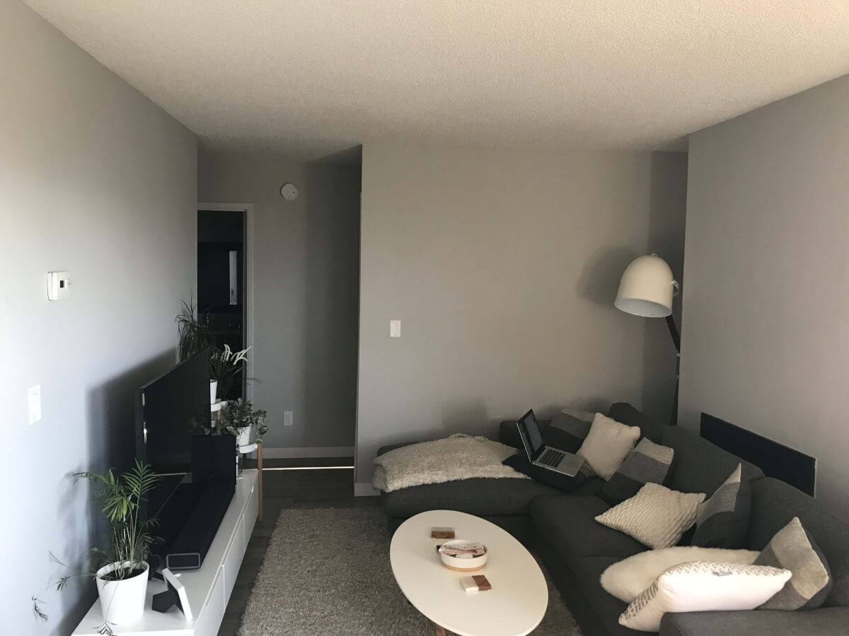 Closer photo of lounge are before the artwork was added. A Rove Concepts lamp is visible. A dark grey sectional sofa with multiple white and grey-stripled pillows, a white coffee table, and an off-white rug. A TV stand is opposite the sofa, with a black TV and flower pots on.