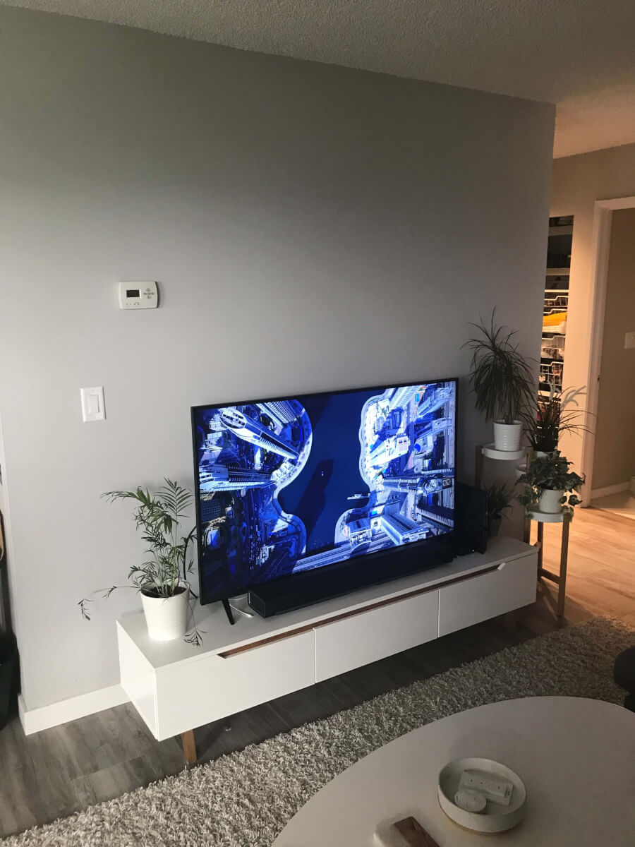 Photo of white TV stand with TV on top. On either side is a plant stand with plants. The wall behind is light grey.