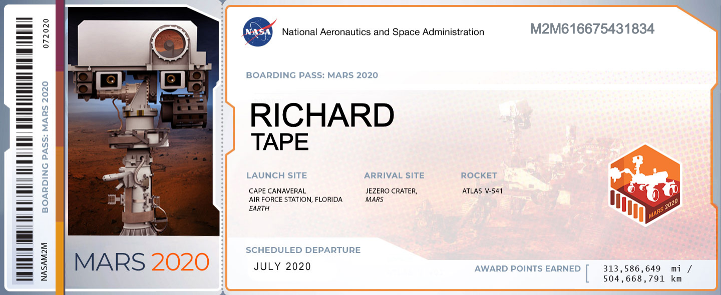 a fake aircraft-style boarding card with my name on it which NASA created to signify that my name will be on board Perseverance